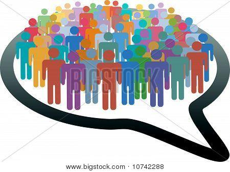 Multitud de redes sociales personas red de burbujas de discurso