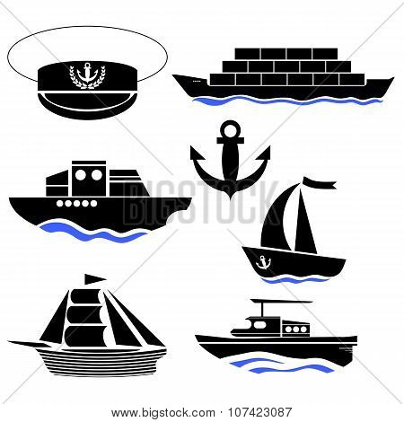 Sea Ships Silhouettes. Anchor Icon. Captain Hat Icon