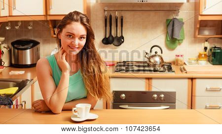 Woman With Hot Coffee Beverage. Caffeine.