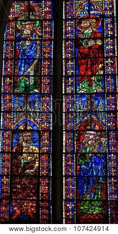 Stained Glass Of Catholic Saints In Cathedral Of Leon, Spain