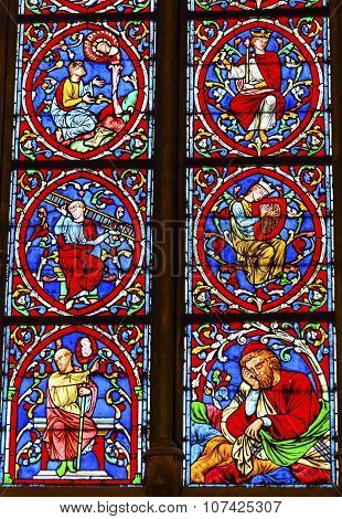 Many Kings Stained Glass Notre Dame Cathedral Paris France