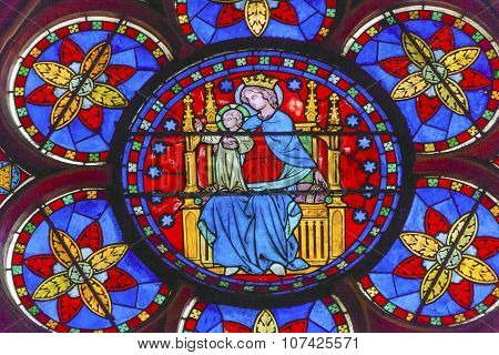 Virgin Mary Jesus Christ Stained Glass Notre Dame Cathedral Paris France