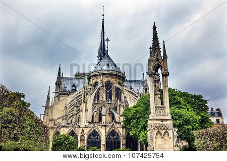 Back Flying Buttresses Overcast Notre Dame Cathedral Paris France