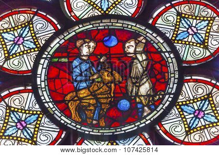 Lost Sheep Parable Jesus Christ Stained Glass Notre Dame Cathedral Paris France