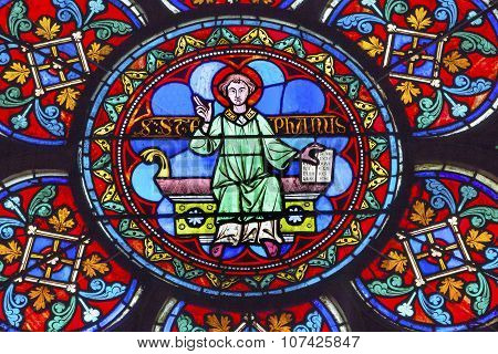 Saint Stephen Stained Glass Notre Dame Cathedral Paris France
