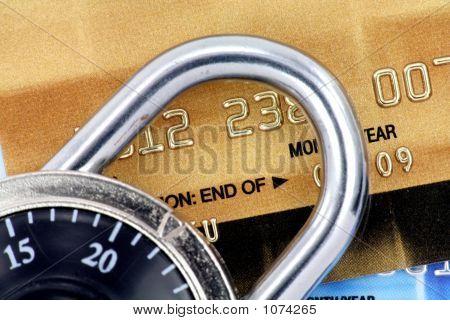 Close Up Of Credit Card And Lock