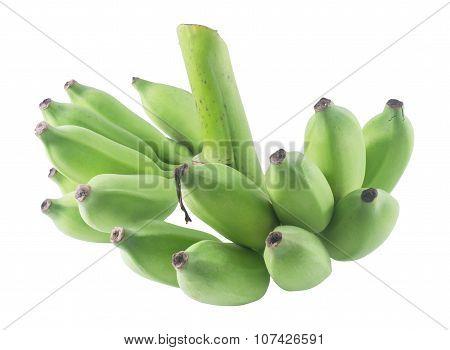 Unripe Banana Fruits On A White Background