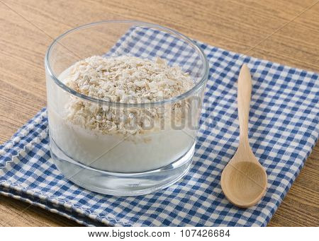 Cup Of Homemade Yoghurt With Porridge Oats
