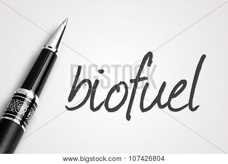 Pen Writes Biofuel On White Blank Paper