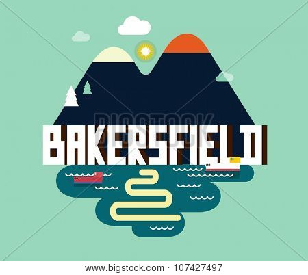 Bakersfield city travel destination in USA. vector cartoon,