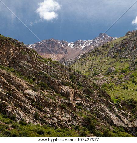 Vertical landscape mountains. Belagorka Gorge, Kyrgyzstan
