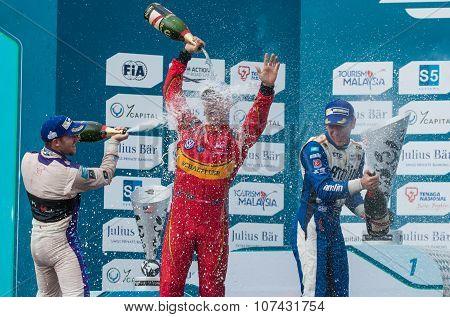 Winners' Podium, Formula E - Putrajaya ePrix, Malaysia, 2015
