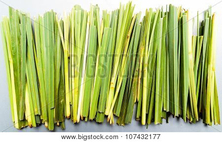 Freshly cut lemon grass background