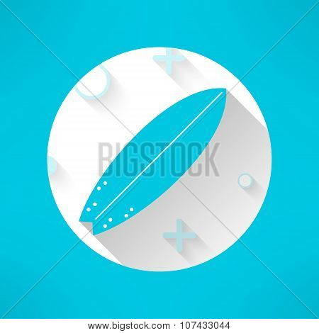 Vector surfboards icon in modern flat design with geometrical ornament. Surfing board with long shad