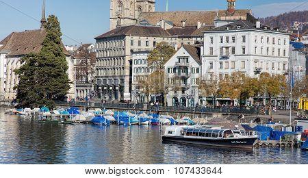 Limmatquai Quay In Zurich