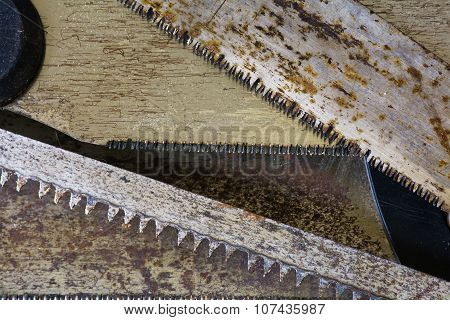 Background Texture, Old Rusty Saw Blades, Carpentry Concept