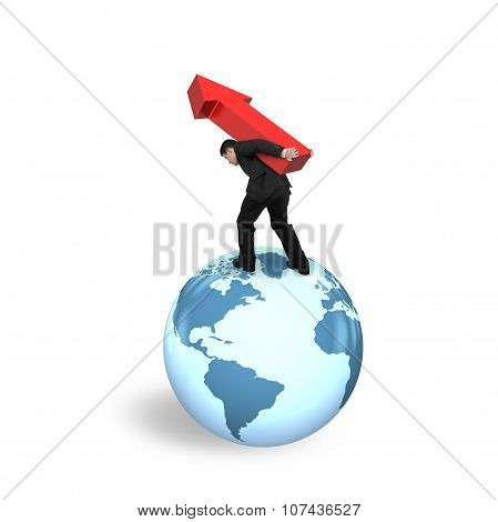 Businessman Carrying Arrow Up Standing On Globe World Map