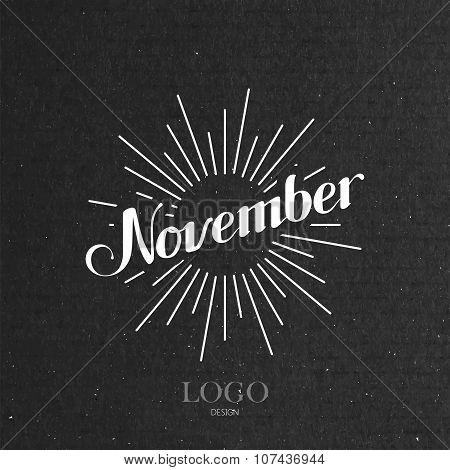 illustration of handwritten November retro label with light ray