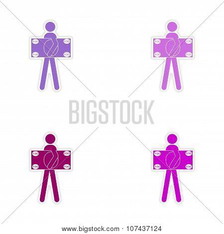 Stylish assembly sticker on paper man holding banknote