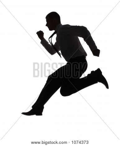 Silhouette Of Running Businessman