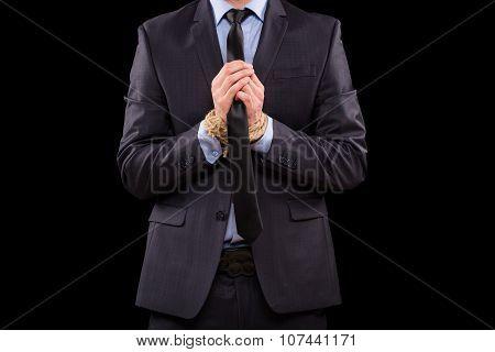 Businessmen tied hand