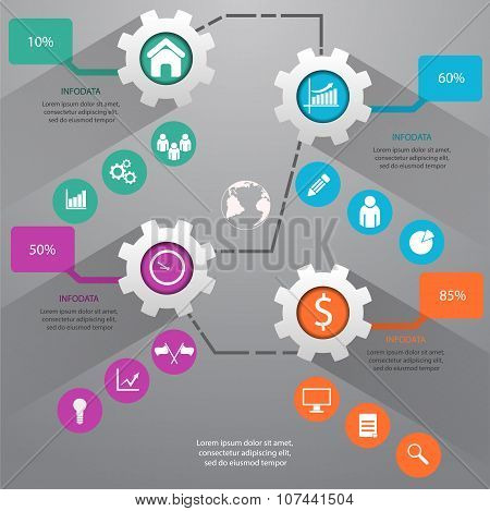 Gear Business Marketing Infographic Template Vector Illustration Eps 10