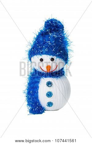 Funny snowman toy isolated on the white backgroung