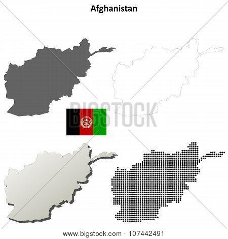 Afghanistan outline map set