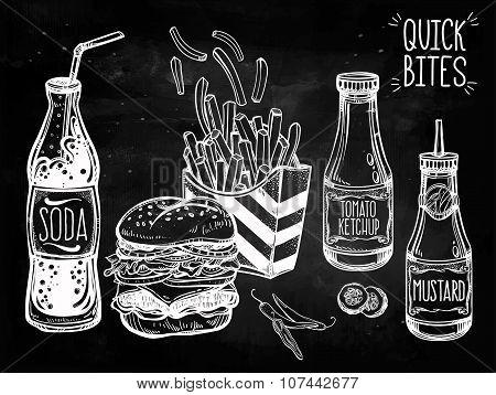 Fast food set vintage linear style.