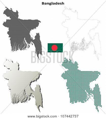 Bangladesh outline map set