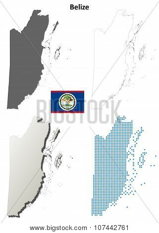 Belize outline map set