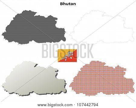 Bhutan outline map set