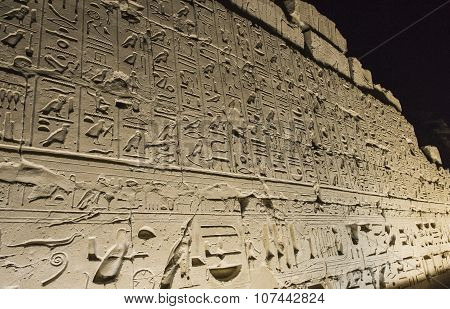 Wall At Karnak Temple In Luxor During The Night