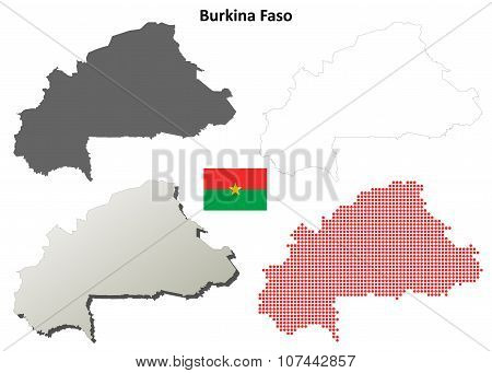 Burkina Faso outline map set