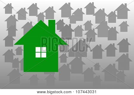 Green Ecology House Is On The Grey Background