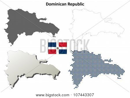 Dominican Republic outline map set