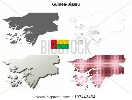 Guinea-Bissau outline map set
