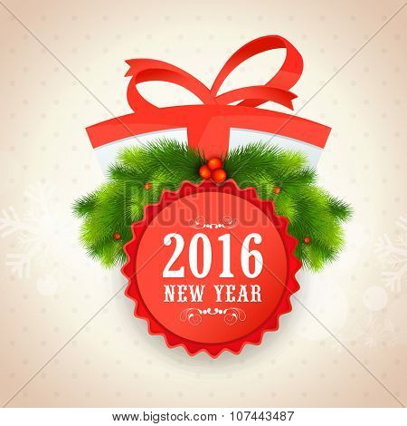 Elegant greeting card design decorated with wrapped gift and fir tree branches for Happy New Year 2016 celebration.