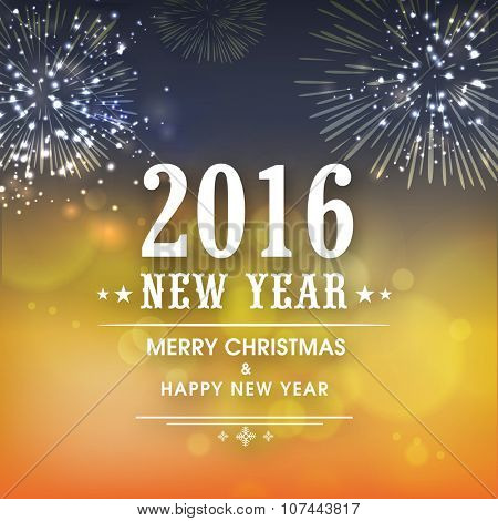 Beautiful fireworks decorated greeting card design for Merry Christmas and Happy New Year 2016.