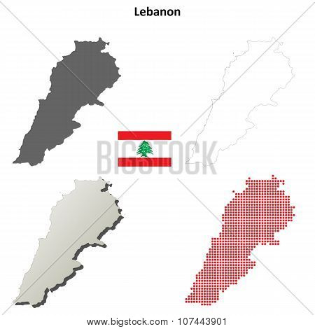 Lebanon outline map set
