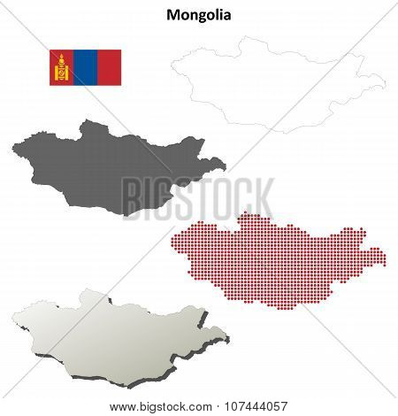 Mongolia outline map set