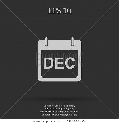 Simple Calendar.  Modern Design Flat Style Icon