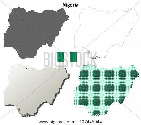 Nigeria outline map set