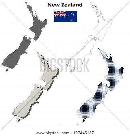 New Zealand outline map set