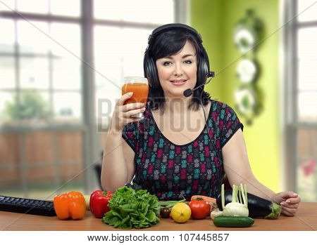Diet expert raising a toast with detox drink
