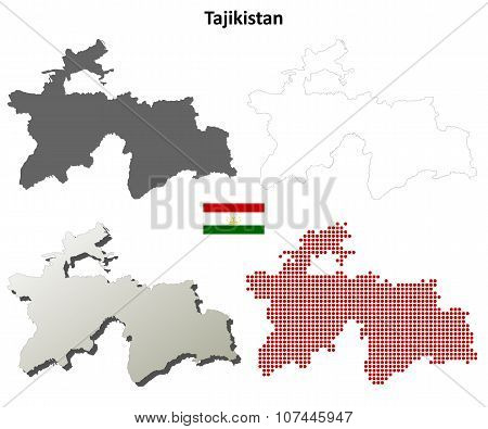 Tajikistan outline map set