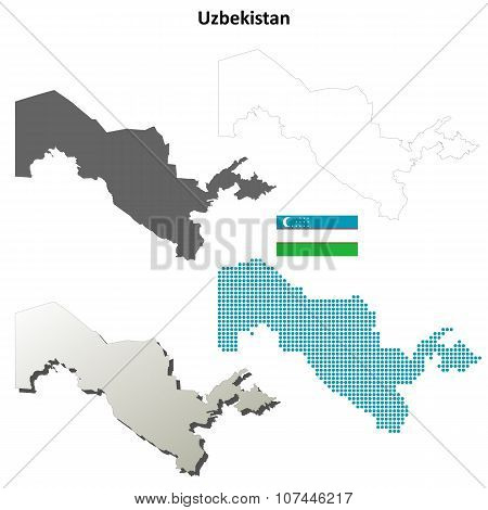 Uzbekistan outline map set