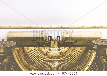 Typewriter And Empty White Paper , Vintage Style