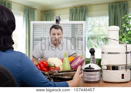 Surprised man looking at vegetables