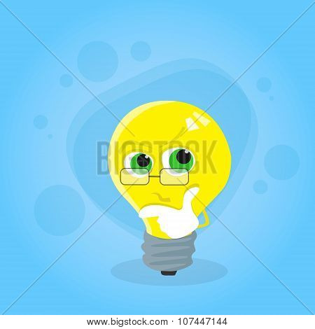 Light Yellow Bulb Think Hold Hand on Chin Look Up Cartoon Character
